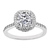 Engagement Ring - Cushion Diamond Engagement Ring with Pave Set Round Diamonds 0.50 tcw. In 14K White Gold - ES457