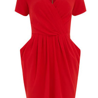 Red cross over pleat dress
