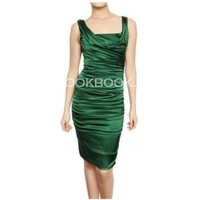 DOLCE & GABBANA - SILK SATIN GATHERED DRESS??250?cheap DOLCE & GABBANA?clothes?DOLCE & GABBANA