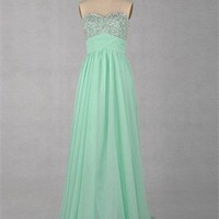 A-line Sweetheart Strapless Beaded Floor length Chiffon Prom Dress Prom Dress PD2066