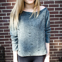 Customizable Grey Black Shredded Scoop Neck Oversized Studded Sweater