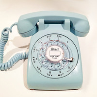 WORKING- Aqua Blue Rotary Phone 1967