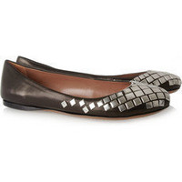 Alaa|Studded leather ballerina flats|NET-A-PORTER.COM