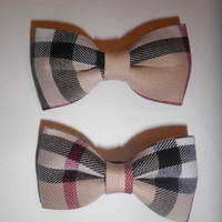 Inspired Burberry style  hair bows(Clip) 4set