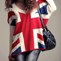Union Jack Slouchy Soho Chic Sweater Oversized Boho Cotton Tunic 16-C65 S M