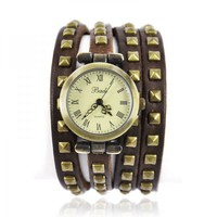 Leather Strap With Rivet Wrap Watch on Luulla