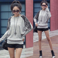 Womens Casual Leopard Batwing Crewneck Sweats Shirts Tops Casual 1956