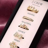 J. crew  shining queen 1 set pearl gold ring, love ring, bow ring, pearl ring, crystal ring, crown ring