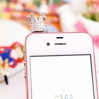 Sparkle Crystal Crown iPhone Dustproof plug  