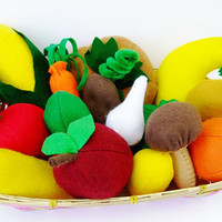 Felt Toy Plush Food in a basket, 15 pieces, Toddlers, Pretend Food, Black Friday Etsy, Cyber Monday Etsy