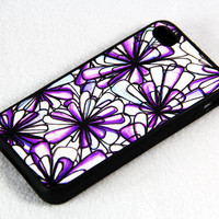 Purple Floral Print iPhone 4 iPhone 4S Case, Rubber Material Full Protection