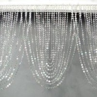 "Amazon.com: 3 ft x 20"" Clear Iridescent Faux Crystal Like Curtain: Home & Kitchen"