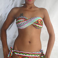 BIKINI BANDEAU TWISTED TUBE AZTEC ORANGE GREEN YELLOW ZIG ZAG LARGE UK sz 12 14