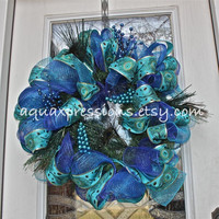 Christmas Wreath /Holiday /Peacock Feathers /Turquoise Blue /Shabby Chic