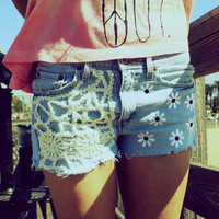 Denim Jean Shorts, Crochet (SMALL) // 2013