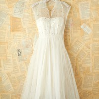 Free People Vintage White Rhinestone and Tulle Dress