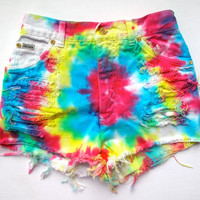 Tye Dye / Destroyed Denim / High waist shorts
