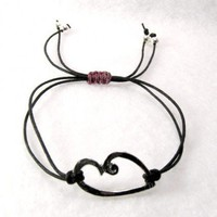 Heart black cord stacking bracelet UnusuallyYours - Jewelry on ArtFire