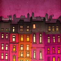 Paris illustration - Paris red facade - Fine art illustration - Fine art prints - Art Posters  - Love, Paris art, Paris decor, Wall art, red