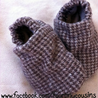 Baby Shoes in brown Houndstooth brushed cotton  by fourtinycousins