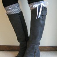 Chevron Weave: 5 COLORS - Chevron Leg Warmers with Woven Ribbon in 5 colors - legwarmers (item no. 2-)
