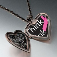 Think Pink Ribbon Awareness Pendant Necklace