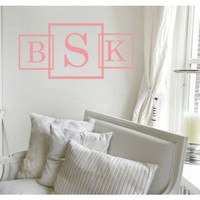 Alphabet Garden Designs Three Square Monogram Wall Decal - MONO032 - All Wall Art - Wall Art & Coverings - Decor