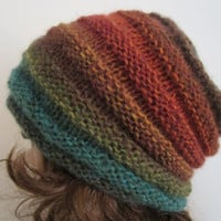 Hand Knit Fall Tones Beanie - Soft Hat - Womens Warm Winter Hat in Greens - Winter Accessories - Winter Fashion