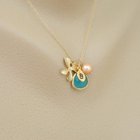 Mothers day Gift, Monogram Necklace, Initial Necklace, Bridesmaid Gifts, Mothers Necklace, Gold Framed, Peach Pearl, Aqua