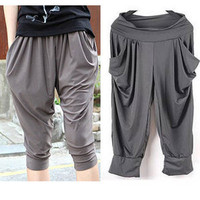 Summer Korean Big Code Women&#x27;s Stretch Capri Pants / Harem Pants