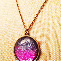 large purple and pink mirrorball necklace- handmade blue violet purple sparkly metallic nickel free necklace