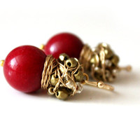 Red jade and Czech glass beads- cluster earrings with jade and faceted glass