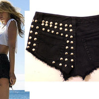 HypoxicAndLost - Handmade - BLACK STUDDED Denim Cut Off Shorts
