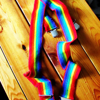 retro rainbow suspenders. gift for him. gift for her