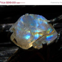 ON SALE Druzy Ring rainbow moonstone by Beijo Flor by BeijoFlor