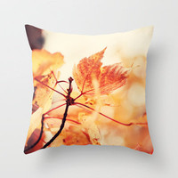 Orange Leaves Throw Pillow by Erin Johnson | Society6