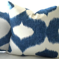 Navy Blue Ikat Ogee pillow print 18 x 18