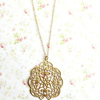 Gold Lace Filigree Necklace. gold filled necklace. Morrocan Style, Boho Chic. Bridesmaid Gift, Holiday, Bohemian, Arabian, India Inspired,
