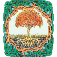 Autumn Tree, original tree of life watercolor and ink aceo, Celtic, Irish