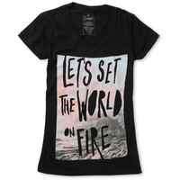 Empyre Girl World On Fire Black V-Neck Black Tee