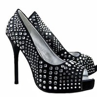 Gianmarco Lorenzi Black Crystal Platform Pumps