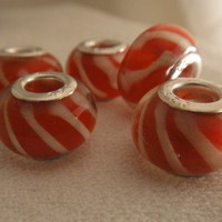Candy-Cane Murano Glass Bead for Bracelet