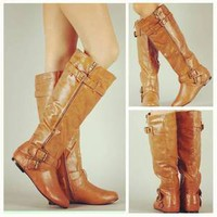 TAN Knee High Buckle Slouch Boots Zipper Vegan Leather Riding Womens Fashion