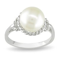 Sterling Silver 9-9.5mm Freshwater Cultured Pearl Ring