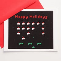 8 Bit Happy Holiday Invaderz card set, gaming christmas stationery, set of 4 retro videogame notecards