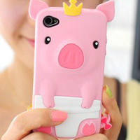 New Pink 3D Cute Pig Crown Silicone Rubber Soft Case Cover For iPhone 4 4S 4G