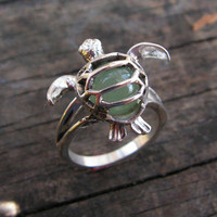 Sterling Silver Sea Turtle Ring With Aventurine