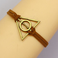 harry potter Bracelet---antique bronze Deathly Hallows& leather Bracelet