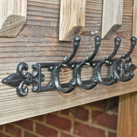 Metal Wall Hook /Black fleur de lis /Bright Chic Decor /Ornate Hanger /Key Holder /Bathroom Fixture /Bedroom /Nursery