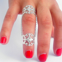 Armor Ring, Slave Ring , Filigree Chain Rings by Tiny Box